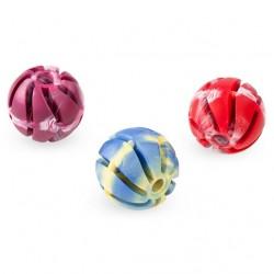 Piłka spiralna z pełnej gumy 7 cm - zabawka zapachowa dla psa