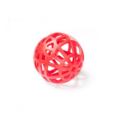 Piłka ażurowa z gumy nietonąca 14 cm - zabawka zapachowa dla psa