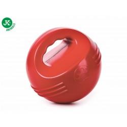 JK animals -piłka z uchwytem czerwona, wytrzymała (gumowa) zabawka z termoplastycznej gumy
